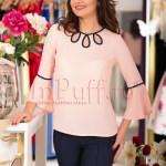 Bluza roz pal cu model bleumarin