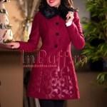 Palton dama bordo cu aplicatii florale din piele