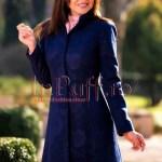 Palton dama elegant din stofa bleumarin