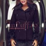 Palton dama negru cu guler si mansete din blana