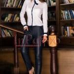 Pantaloni dama bleumarin din piele ecologica