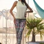 Pantaloni verzi imprimeu floral