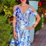 Rochie Aido De Vara Cu Imprimeu Floral Albastru