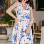 Rochie Alissa Cu Imprimeuri Albastre