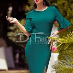 Rochie Carlita Verde cu Crapatura