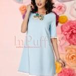 Rochie casual bleu cu franjuri