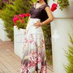 Rochie Damira de Seara cu Flori Rosii