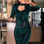 Rochie de seara din catifea verde cu paiete