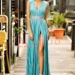 Rochie de seara turquoise cu tul argintiu despicata pe picior