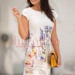 Rochie de vara conica ivoire cu imprimeu urban fashion