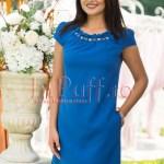 Rochie eleganta albastra cu margelute la gat