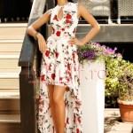 Rochie eleganta scurta din voal cu imprimeu floral si trena