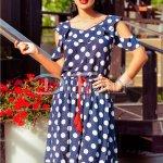 Rochie Emira Bleumarin de Zi cu Buline