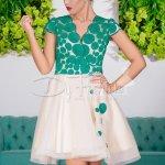 Rochie Impress De Seara Cu Broderie Verde