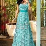Rochie lunga de seara cu spatele gol din dantela turquoise