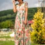 Rochie lunga imprimeu floral fundite pe umeri