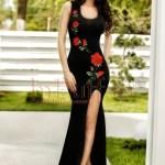 Rochie lunga neagra cu trandafiri