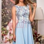 Rochie midi bleu cu bust din brocard