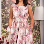 Rochie midi cu imprimeu colorat mov