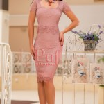Rochie midi eleganta dantela fina roz