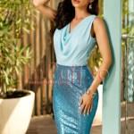 Rochie midi eleganta din lycra bleu si paiete