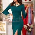 Rochie midi verde inchis