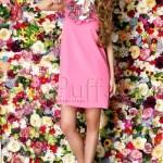 Rochie roz lejera cu broderie florala
