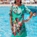 Rochie Sanda Verde cu Imprimeu Trandafiri