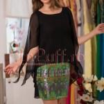 Rochie scurta eleganta de seara neagra cu paiete colorate
