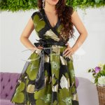 Rochie Significant Verde Organza Brodat