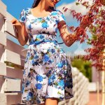 Rochie Springly cu Flori Albastre