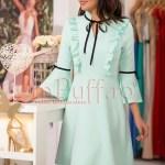 Rochie verde menta cu volanase