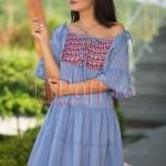 Rochita de vara din panza bleu cu broderie colorata
