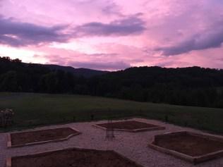 red wellie farm purple sky