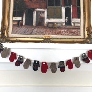Up-cycled wool mitten garland
