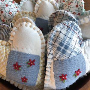 Hand-stitched quilt hearts farmhouse decor