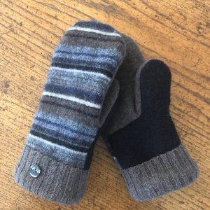 striped wool mittens-black