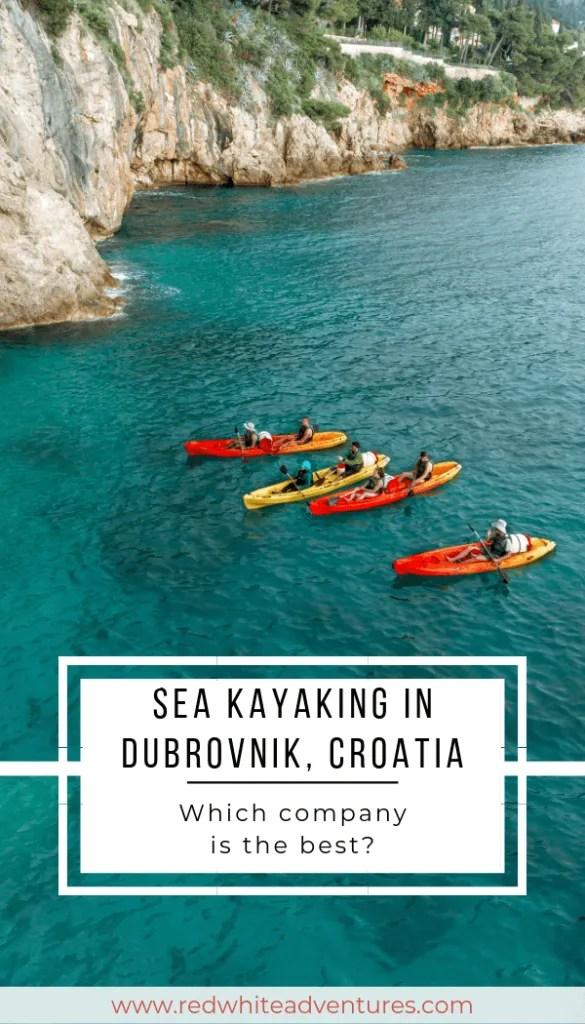 Pin for Pinterest of Sea kayaking in Dubrovnik, Croatia.