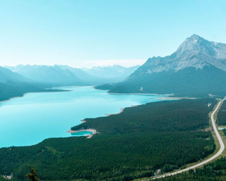 One of the best views during an Abraham Lake hike.