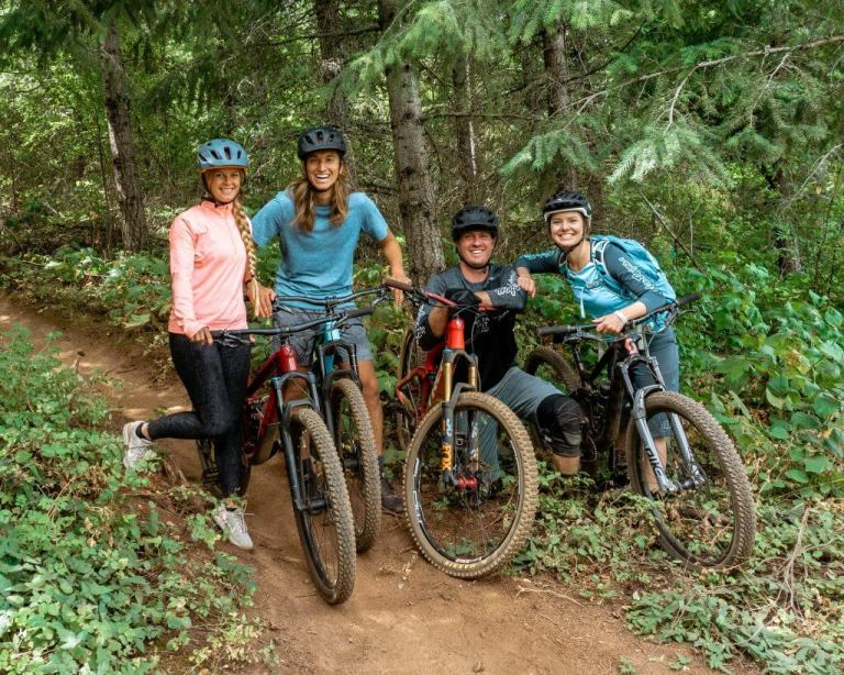 Our guides and us mountain biking in Hood River, Oregon.