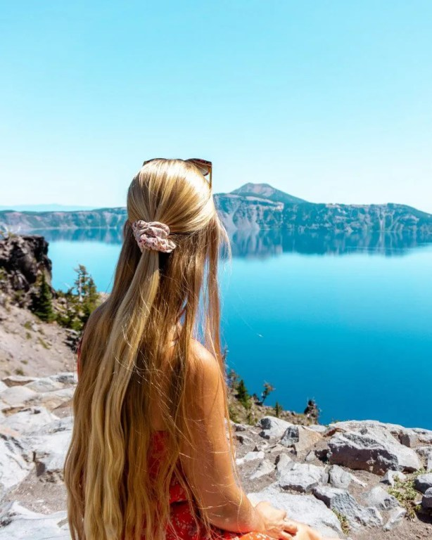 Views of Crater Lake in Oregon.