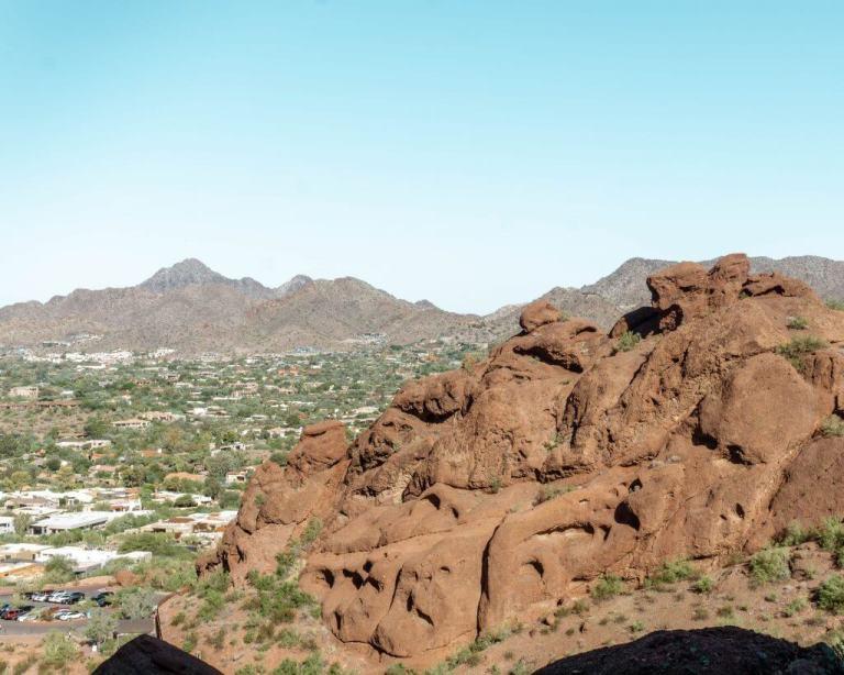 Hiking up Camelback Mountain in Phoenix, Arizona.