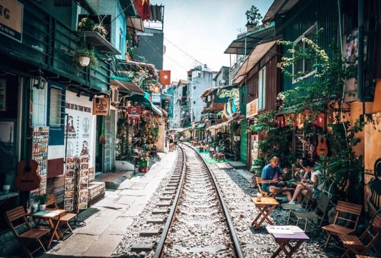 Hanoi streets in Vietnam.