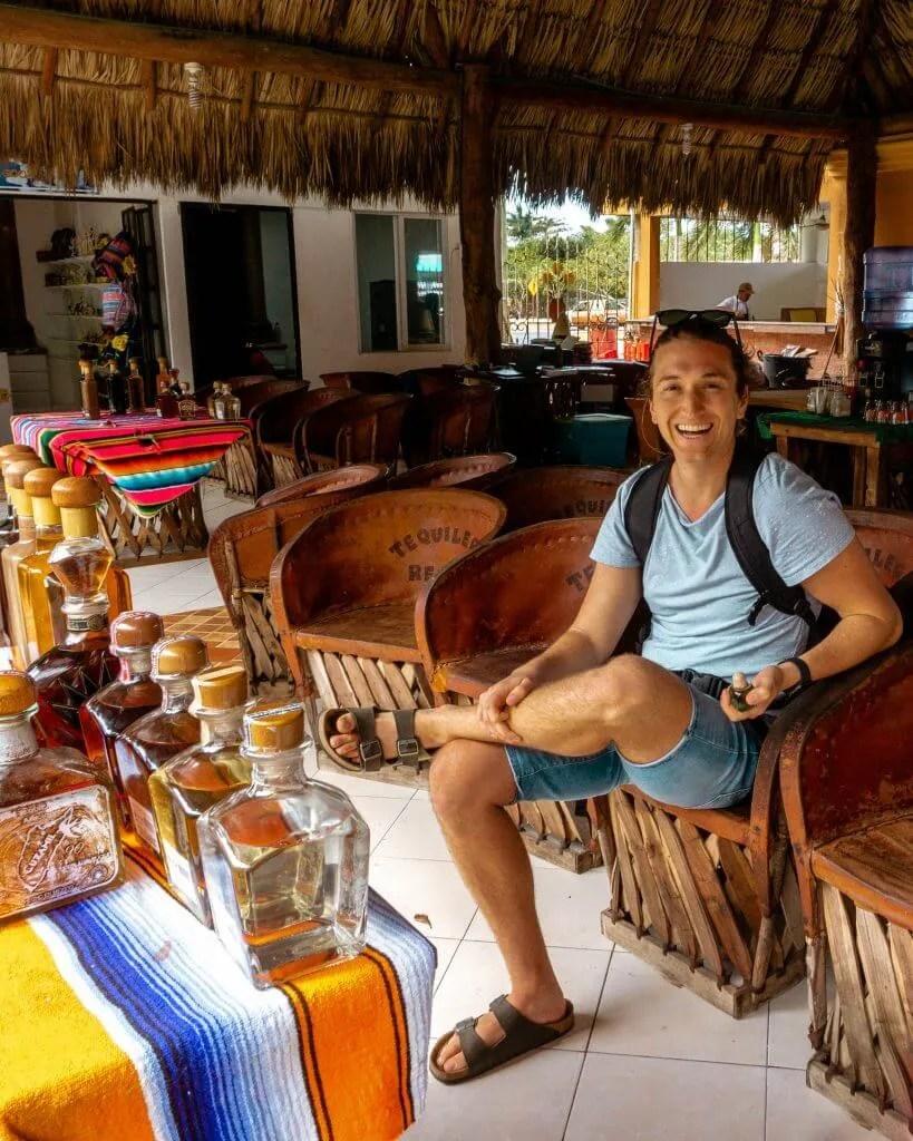Tequila sampling in Cozumel.