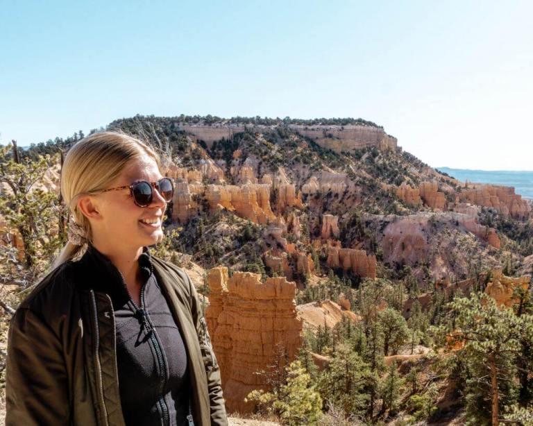 Bring sunglasses while hiking in Utah.