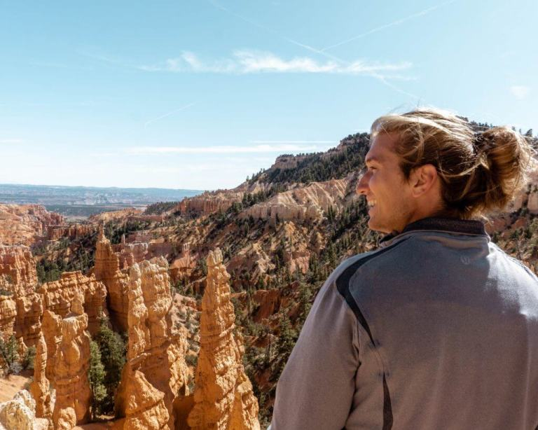 Dom admiring the views of Bryce Canyon.