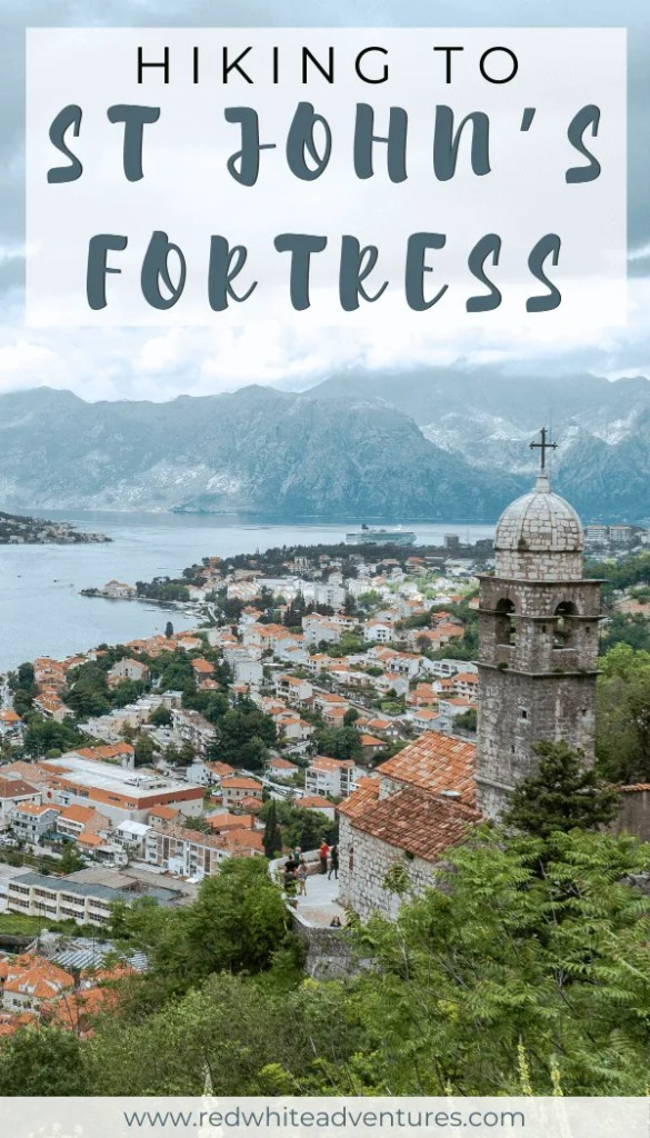 Pin for Pinterest of a fortress hike in Kotor.