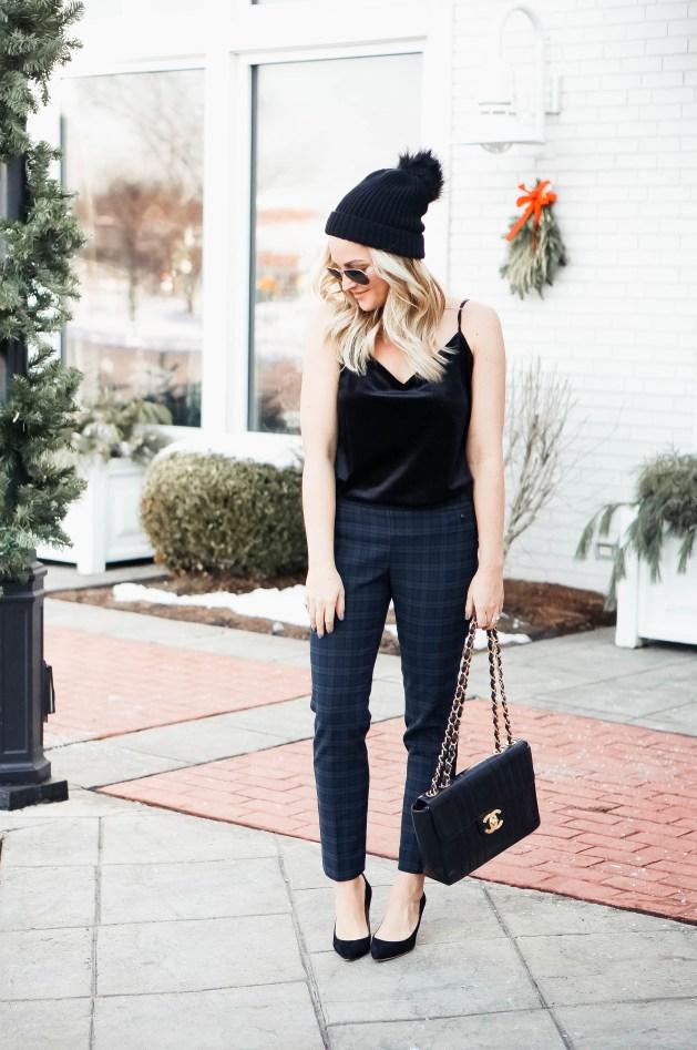 Black Watch Plaid Pants Outfit Idea