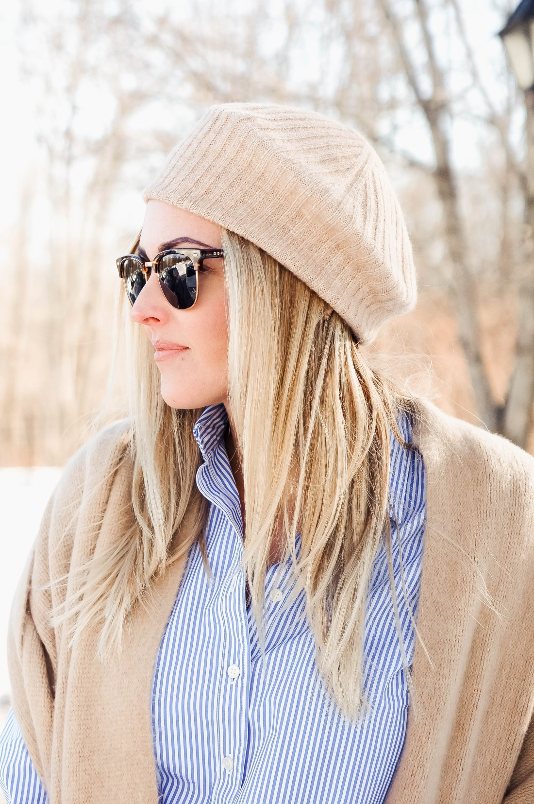 How To Wear Blue and White Stripes For Winter