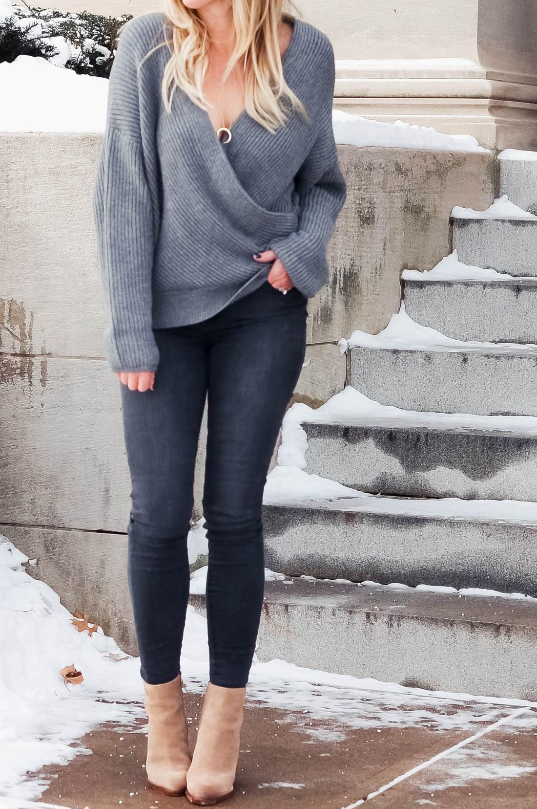 Grey Chunky Wrap Sweater